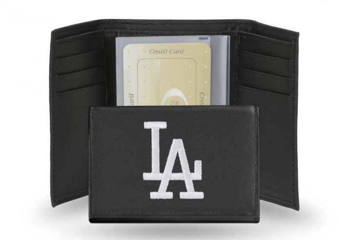 Los Angeles Dodgers MLB Leather Trifold Wallet (Black)