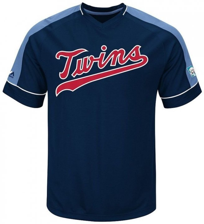 VF Minnesota Twins MLB Majestic Mens Cooperstown Vintage Hit Jersey Navy Blue Big & Tall Sizes