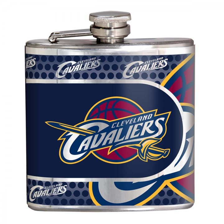 Cleveland Cavaliers NBA 6 oz Stainless Steel Hip Flask with Metallic Graphics (Silver)