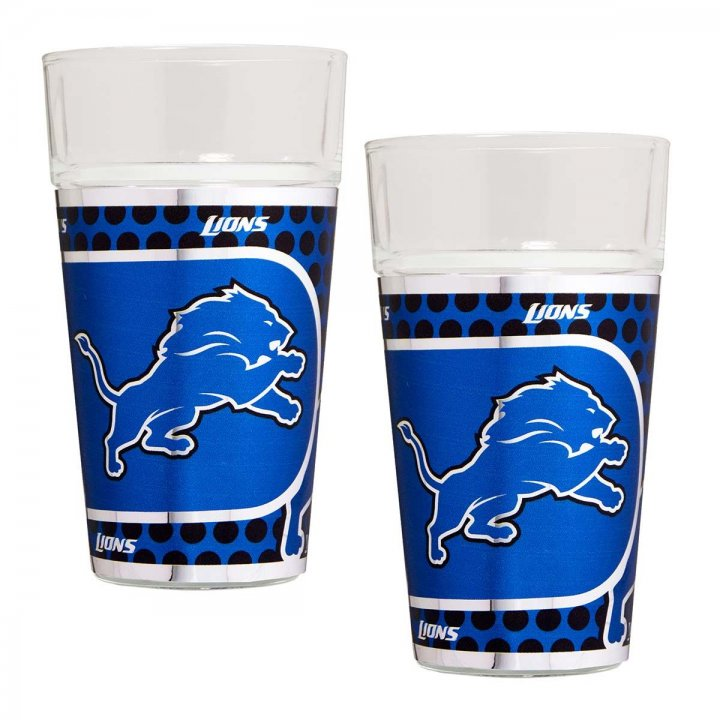Detroit Lions NFL 2 Piece Pint Glass Set with Metallic Graphics (Clear)