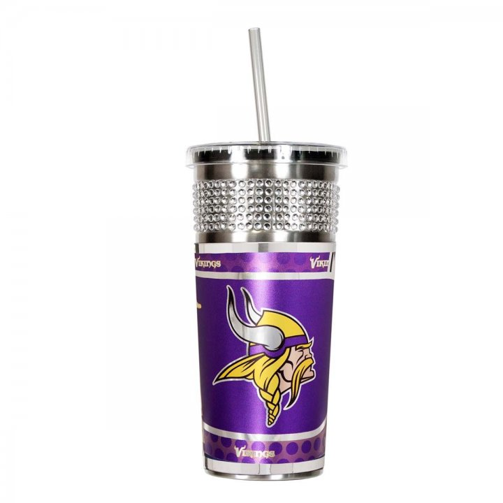 Minnesota Vikings NFL 16 oz Silver Bling Tumbler with Straw