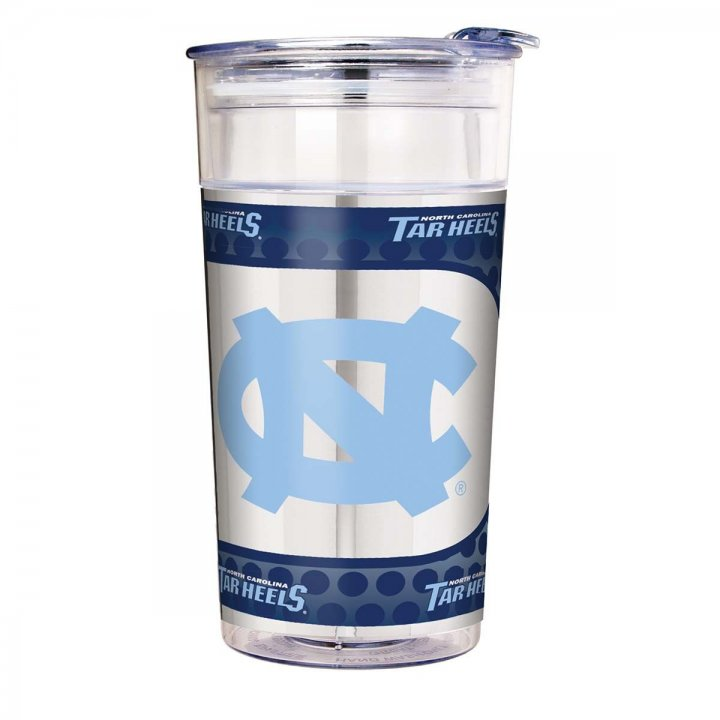 North Carolina Tar Heels NCAA North Carolina Tar Heels 22 oz Double Wall Acrylic Party Cup with Metallic Graphics (Clear)