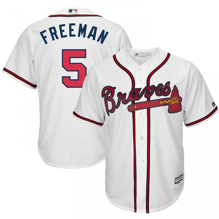 Franklin Sports Freddie Freeman #5 Atlanta Braves MLB Men's White Home Cool Base Player Jersey