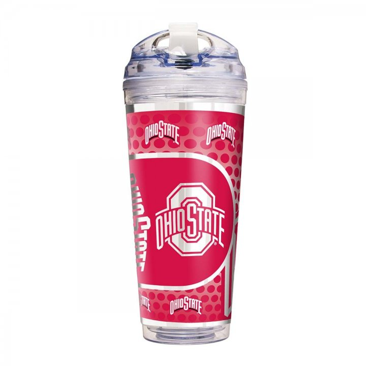Ohio State Buckeyes NCAA Ohio State Buckeyes 24 oz Double Wall Acrylic Travel Tumbler with Metallic Graphics (Clear)