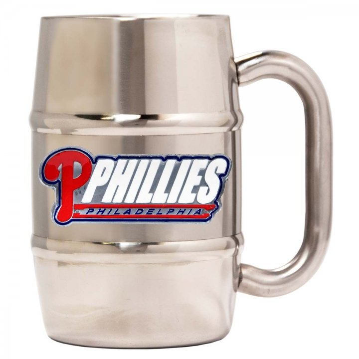 Philadelphia Phillies 16 oz Double Wall Stainless Steel Mug (Silver)