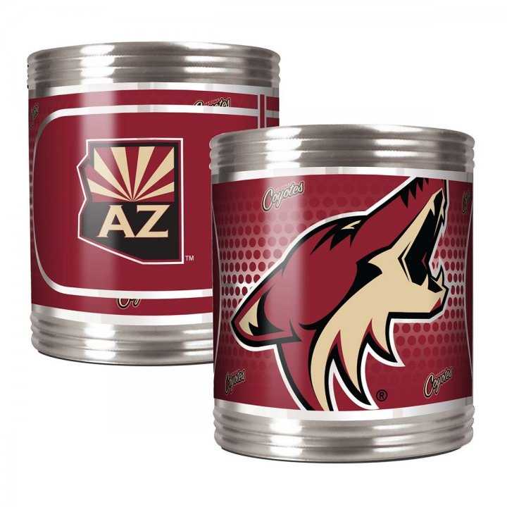 Arizona Coyotes NHL 2 Piece Stainless Steel Can Holder Set with Metallic Graphics (Silver)