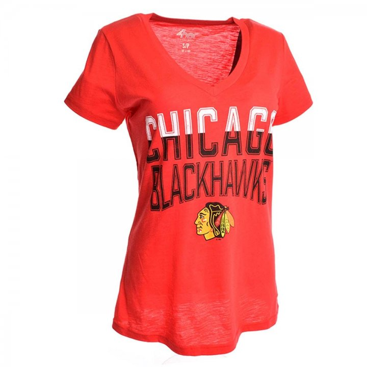 Chicago Blackhawks Womens Sliced Fair Catch T-Shirt (Red)
