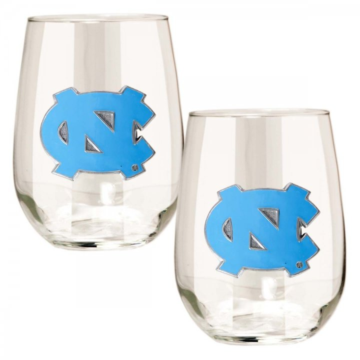 North Carolina Tar Heels NCAA 2 Piece Stemless Wine Glass Set (Clear)