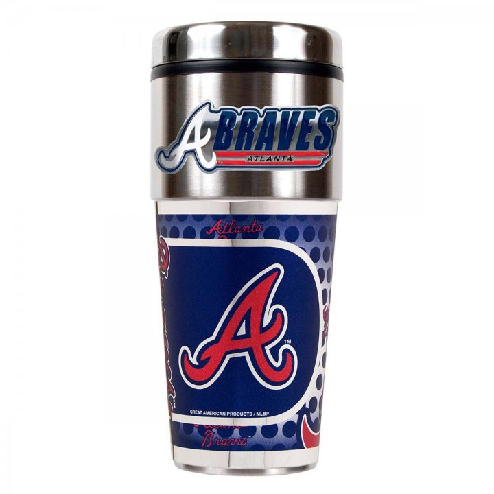 Atlanta Braves 16 oz Stainless Steel Travel Tumbler with Metallic Graphics