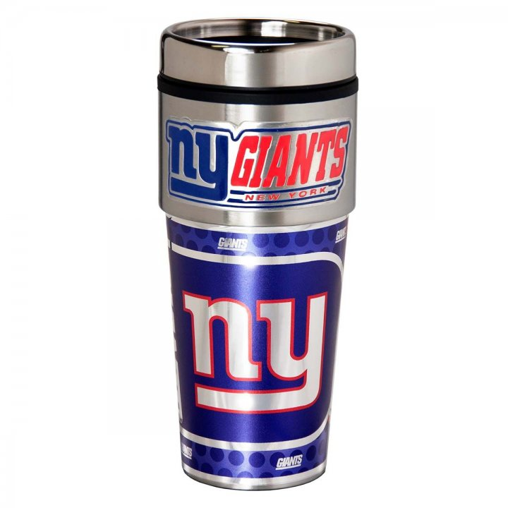 New York Giants 16 oz Stainless Steel Travel Tumbler with Metallic Graphics