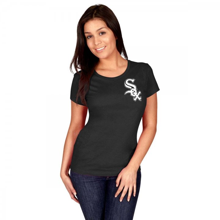 Majestic Chicago White Sox Womens Personalized Official Wordmark T-Shirt (Black)