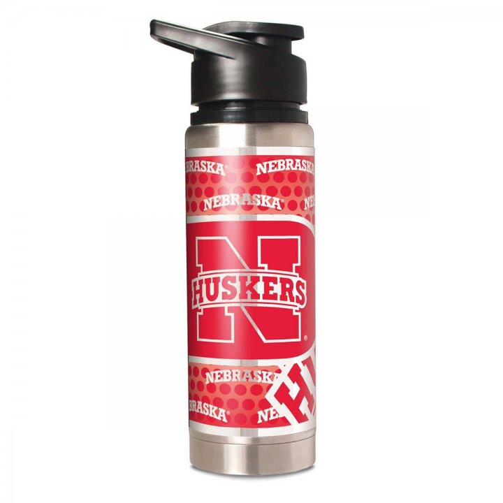 Nebraska Cornhuskers NCAA 20 oz Double Wall Stainless Steel Water Bottle with Metallic Graphics (Silver)
