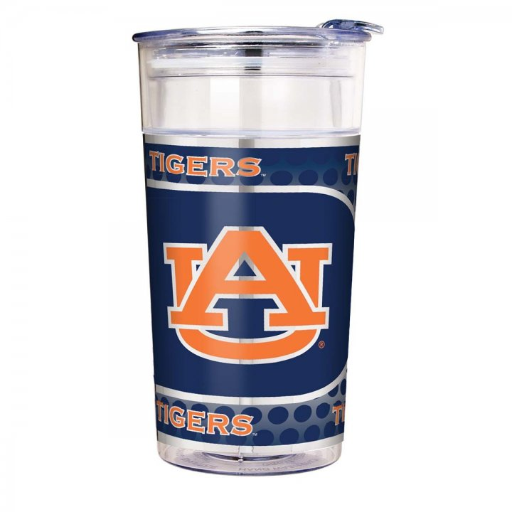 Auburn Tigers NCAA Auburn Tigers 22 oz Double Wall Acrylic Party Cup with Metallic Graphics (Clear)