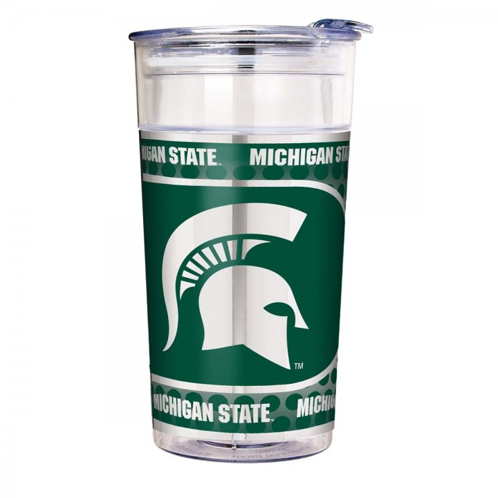 Michigan State Spartans NCAA Michigan State Spartans 22 oz Double Wall Acrylic Party Cup with Metallic Graphics (Clear)