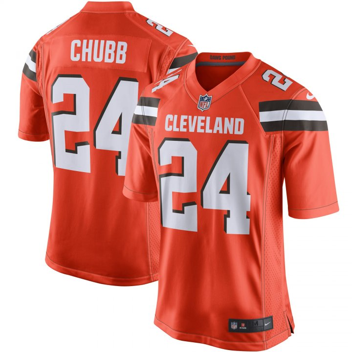 Outerstuff Youth Kids 24 Nick Chubb Cleveland Browns Jersey Orange