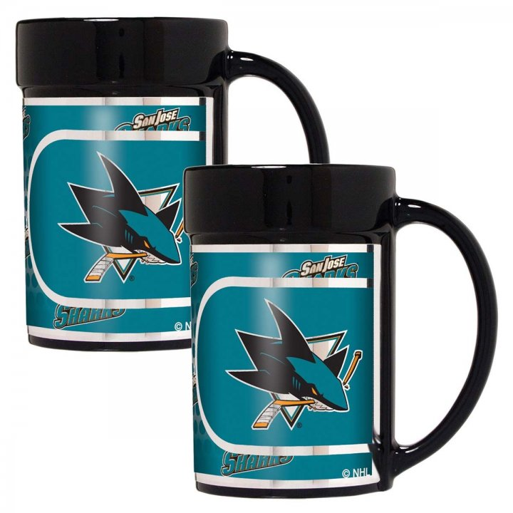 San Jose Sharks NHL 2 Piece Coffee Mug Set with Metallic Graphics (Black)