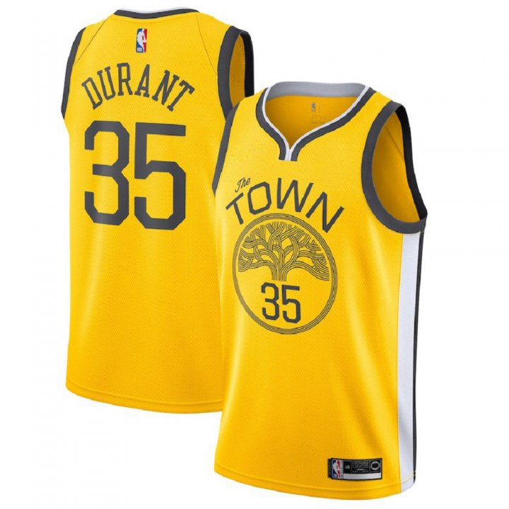 Majestic Athletic Kevin Durant #35 Golden State Warriors 2018-19 Swingman Men's Jersey Yellow