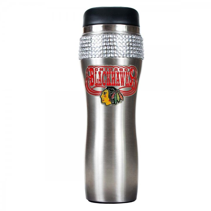 Chicago Blackhawks NHL Chicago Blackhawks Stainless Steel Bling Travel Tumbler (Silver)