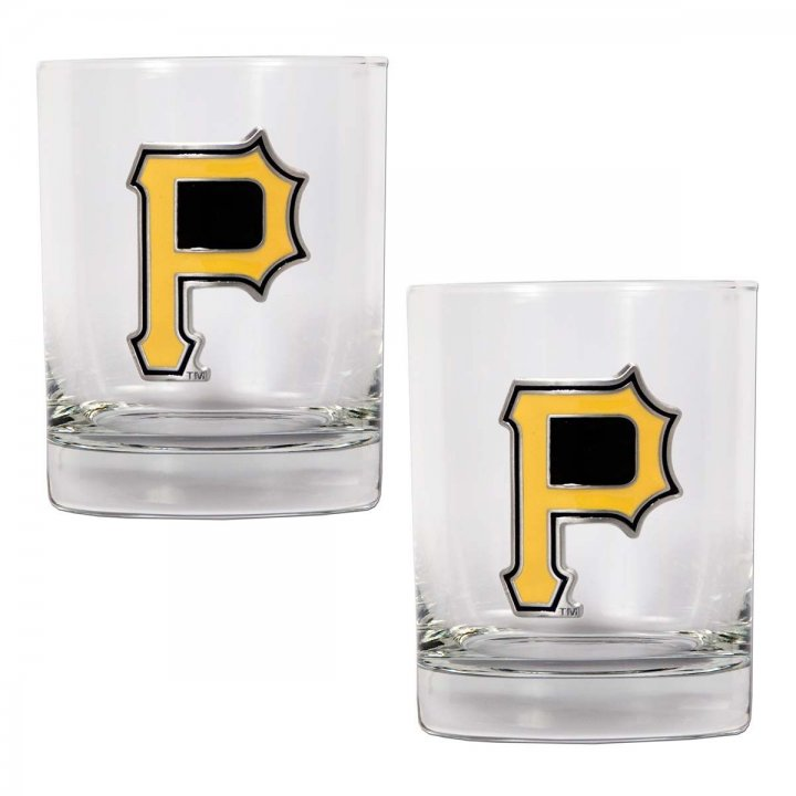 Pittsburgh Pirates MLB 2 Piece Rocks Glass Set (Clear)