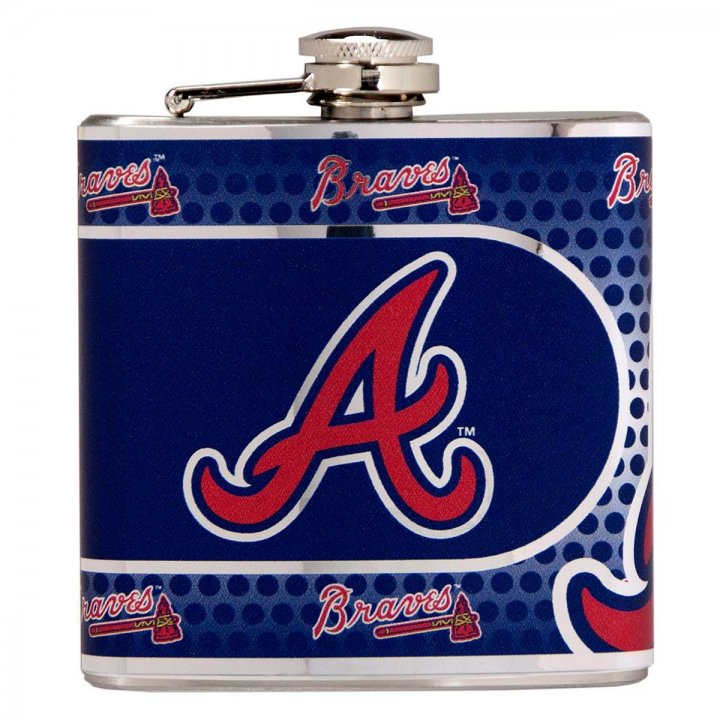 Atlanta Braves 6 oz Stainless Steel Hip Flask with Metallic Graphics (Silver)