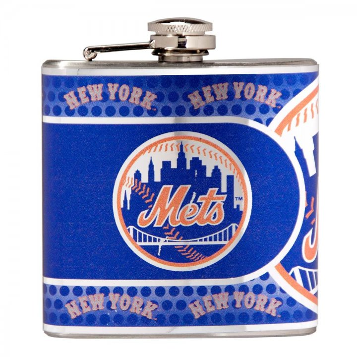 New York Mets 6 oz Stainless Steel Hip Flask with Metallic Graphics (Silver)