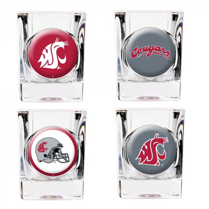 Washington State Cougars NCAA 4 Piece Collector's Shot Glass Set (Clear)