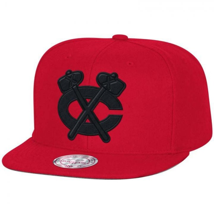 Mitchell & Ness Chicago Blackhawks Melton Proper Snapback Hat (Red)
