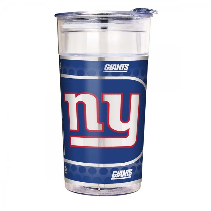 New York Giants 22 oz Double Wall Acrylic Party Cup with Metallic Graphics (Clear)