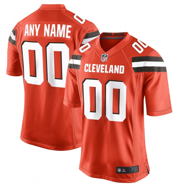VF Men Youth Kids Cleveland Browns Custom Any Name Number Embroidery Jersey Orange