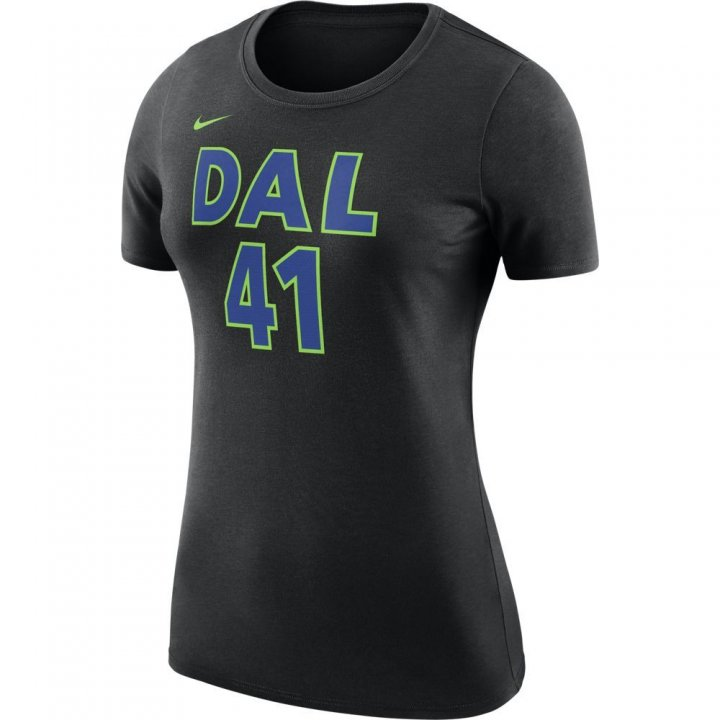 Dallas Mavericks NBA Dirk Nowitzki Womens Shootaround Name & Number T-Shirt (Black)