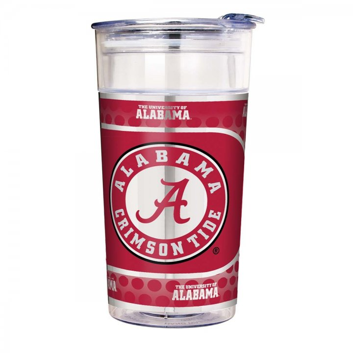 Alabama Crimson Tide NCAA Alabama Crimson Tide 22 oz Double Wall Acrylic Party Cup with Metallic Graphics (Clear)