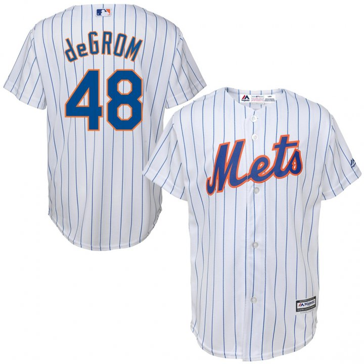 Outerstuff Youth Kids New York Mets 48 Jacob deGrom Base Player Jersey Baseball White