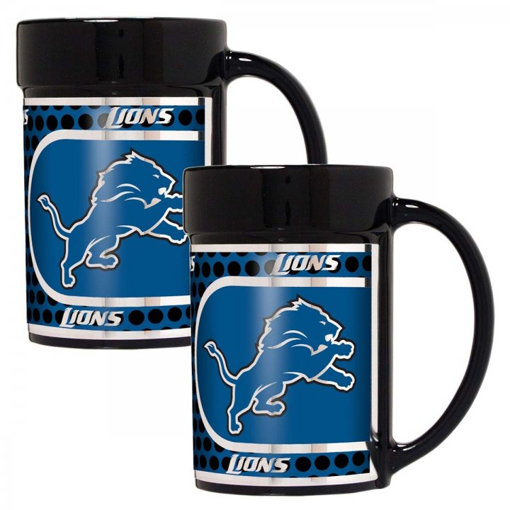 Detroit Lions NFL 2 Piece Coffee Mug Set with Metallic Graphics (Black)
