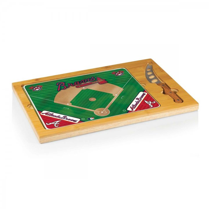Atlanta Braves Icon Cutting Board/Tray and Knife Set
