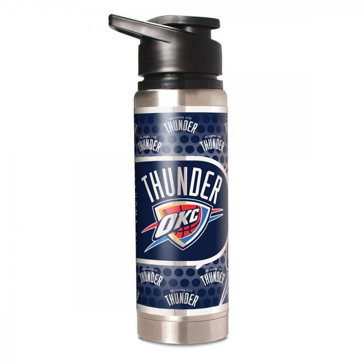 Oklahoma City Thunder NBA 20 oz Double Wall Stainless Steel Water Bottle with Metallic Graphics (Silver)