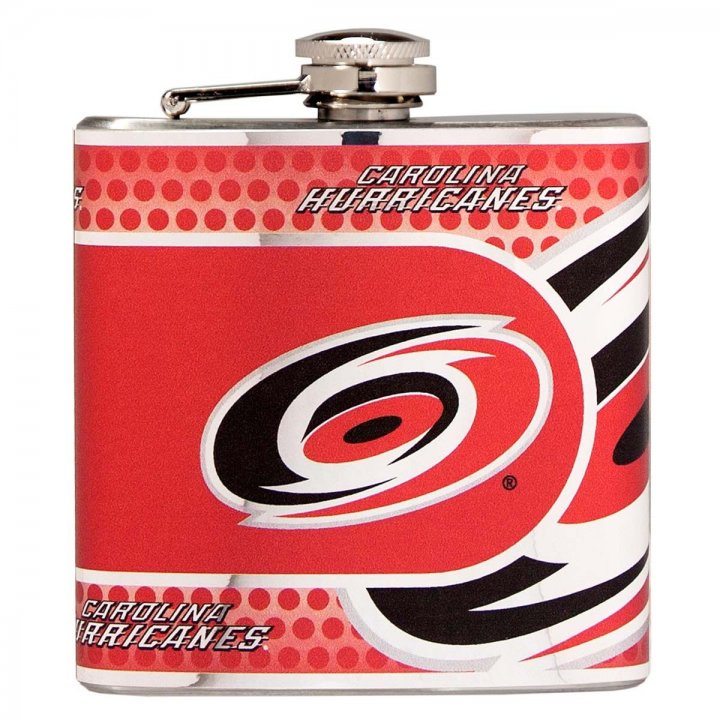 Carolina Hurricanes NHL 6 oz Stainless Steel Hip Flask with Metallic Graphics (Silver)