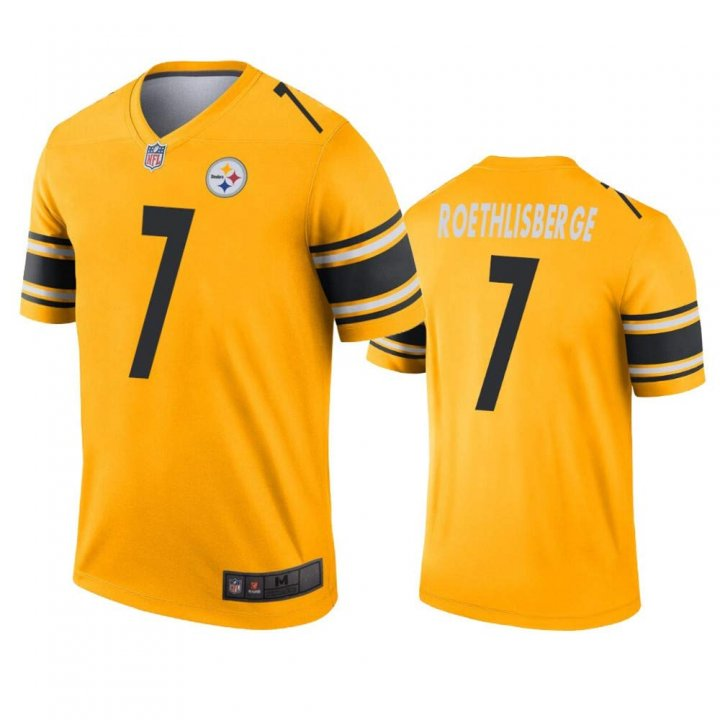 Franklin Sports Men's Pittsburgh Steelers #7 Ben Roethlisberger 2019 Inverted Legend Jersey - Gold