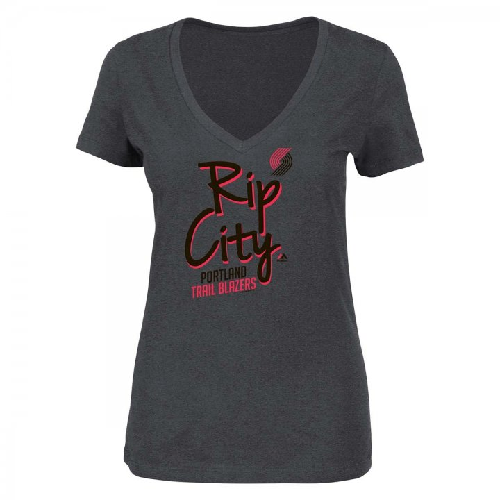 Portland Trail Blazers Womens Out Play V-Neck T-Shirt (Charcoal)