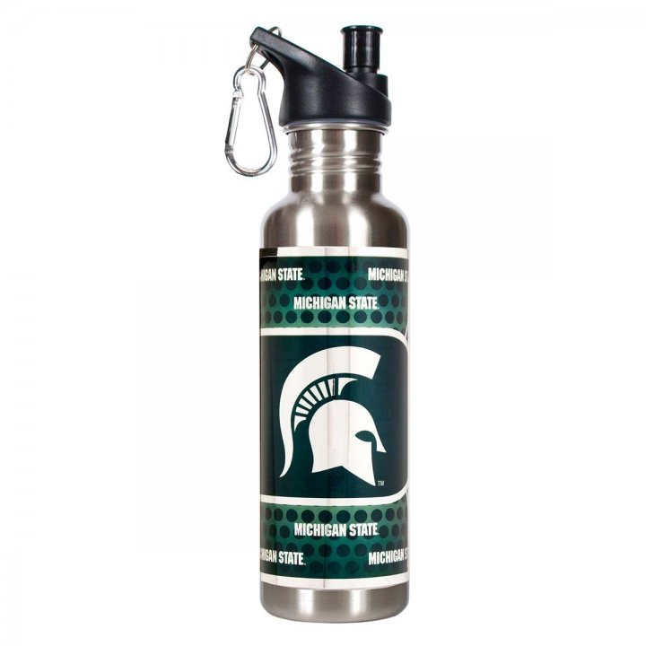 Michigan State Spartans NCAA Michigan State Spartans 26 oz Stainless Steel Water Bottle with Metallic Graphics (Silver)