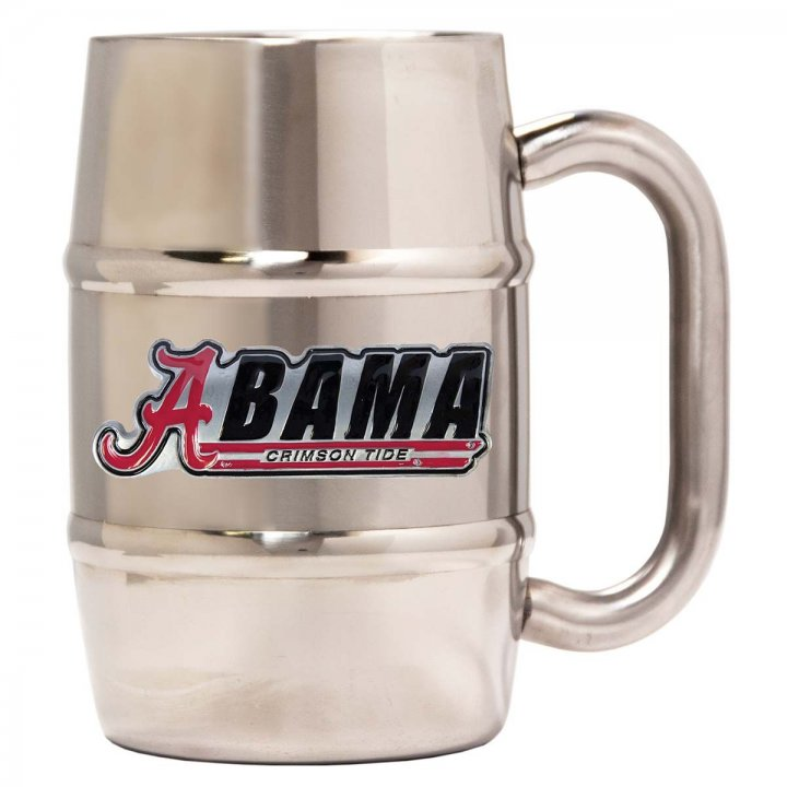Alabama Crimson Tide 16 oz Double Wall Stainless Steel Mug (Silver)