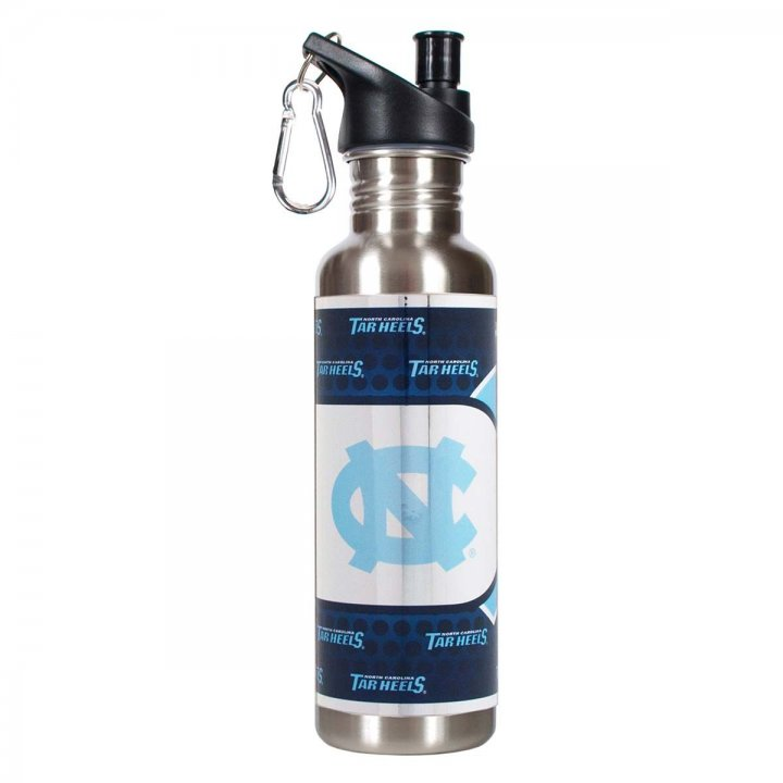 North Carolina Tar Heels NCAA North Carolina Tar Heels 26 oz Stainless Steel Water Bottle with Metallic Graphics (Silver)
