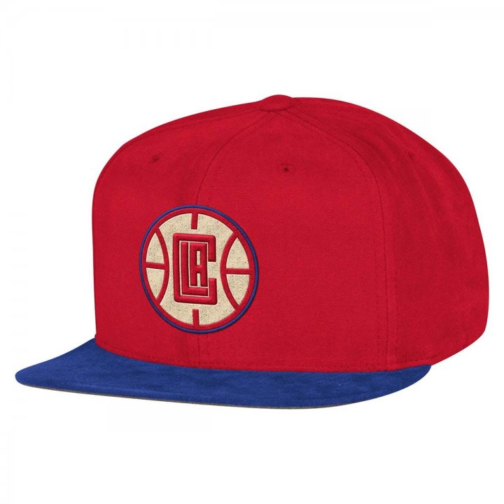 Mitchell & Ness Los Angeles Clippers Sandy Off White Snapback Hat (Red)