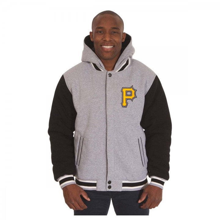 Pittsburgh Pirates Patch Program Reversible Fleece Hooded Button Snap Jacket (Gray)