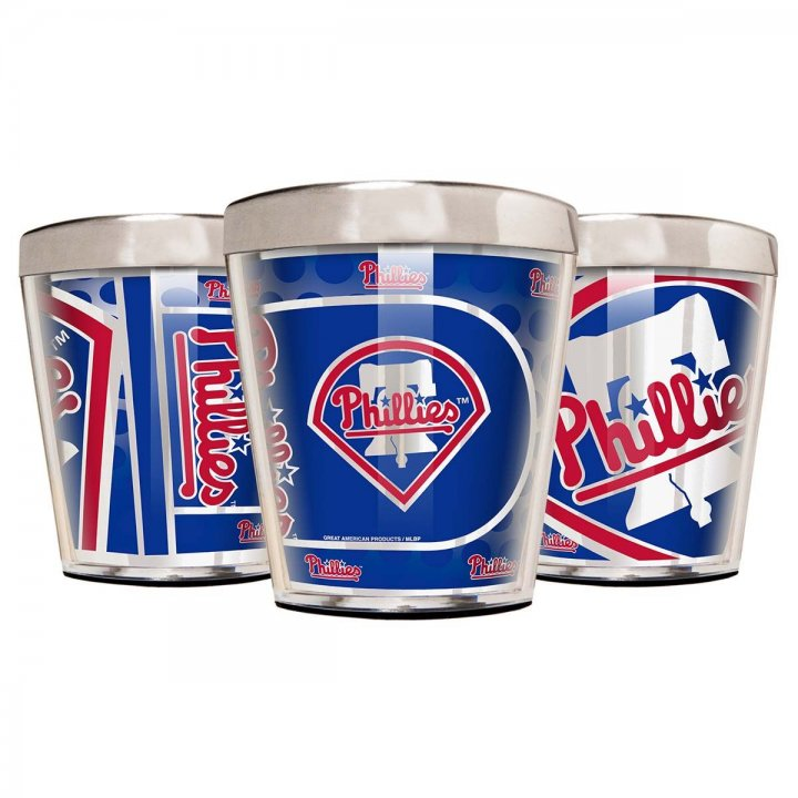 Philadelphia Phillies MLB 3 Piece Stainless Steel & Acrylic Shot Glass Set with Metallic Graphics (Silver)