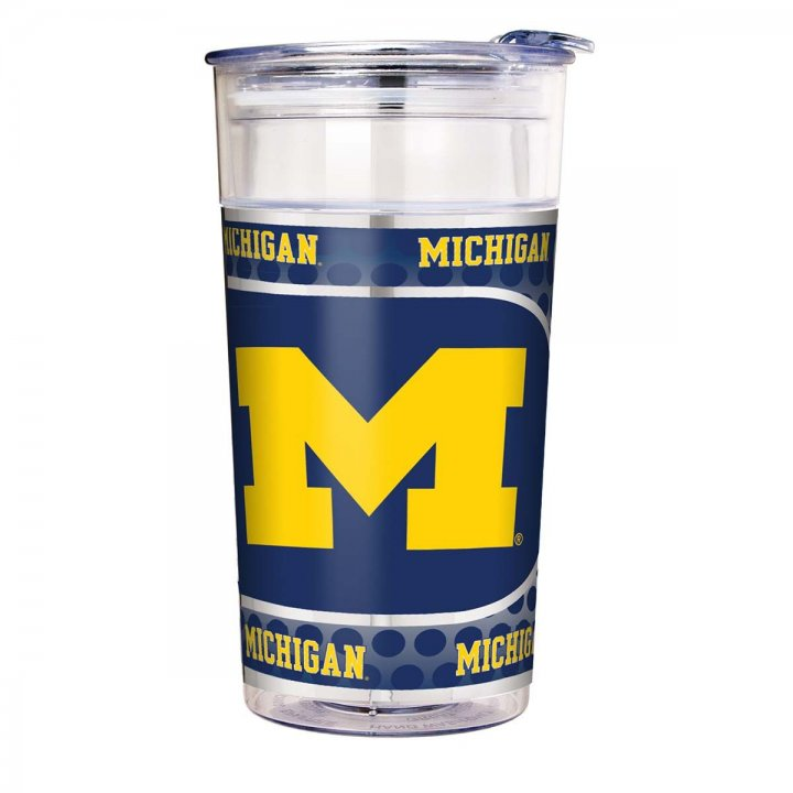 Michigan Wolverines NCAA Michigan Wolverines 22 oz Double Wall Acrylic Party Cup with Metallic Graphics (Clear)
