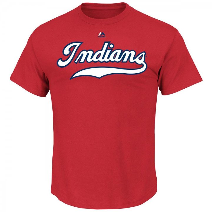 Majestic Cleveland Indians Cooperstown Wordmark T-Shirt (Red)