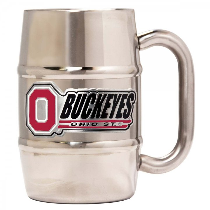 Ohio State Buckeyes 16 oz Double Wall Stainless Steel Mug (Silver)