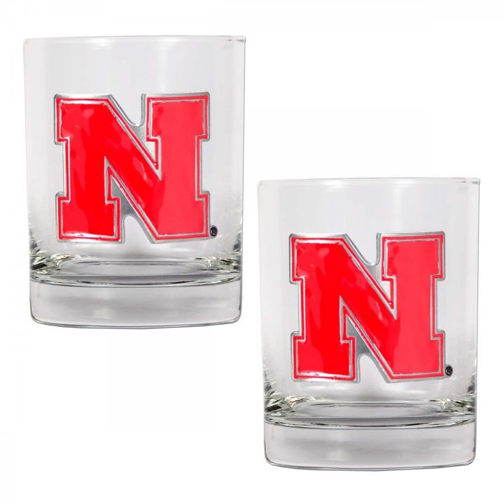 Nebraska Cornhuskers NCAA 2Pc Rocks Glass Set (Clear)