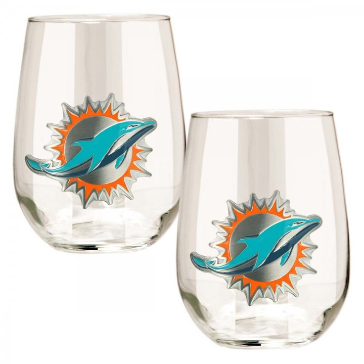 Miami Dolphins NFL 2 Piece Stemless Wine Glass Set (Clear)