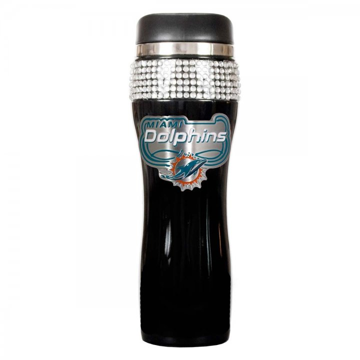 Miami Dolphins Black Stainless Steel Bling Travel Tumbler (Black)